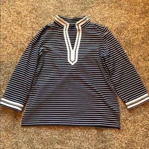 Talbots terry-cloth shirt navy stripes, size large